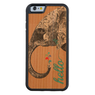 Hello Cute Colorful Elephant with Damask Pattern Cherry iPhone 6 Bumper