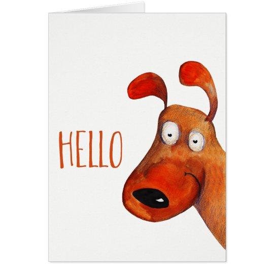 """Hello"" Cute Dog Watercolor Blank Inside Card"