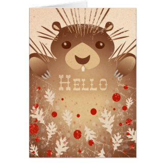 """Hello"" Cute Porcupine Note Card"