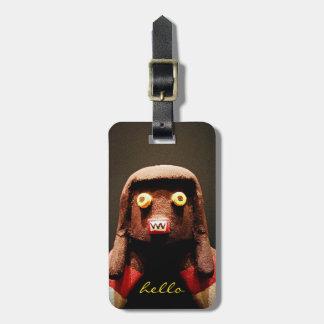 """""""Hello"""" Cute, Sweet, Funny, Odd Face Kachina Photo Luggage Tag"""