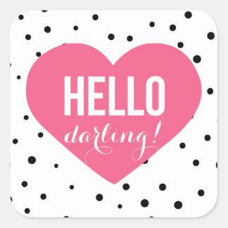 Hello Darling Heart | Polka Dots Sticker