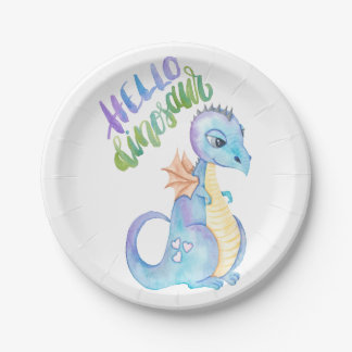 Hello Dinosaur Paper Plate
