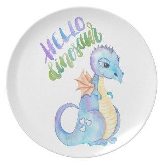 Hello Dinosaur Plate
