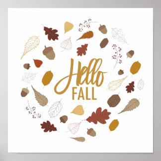 Hello Fall Foliage Art Print