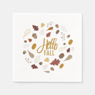 Hello Fall Foliage Napkins