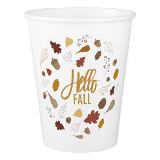Hello Fall Foliage Paper Cups