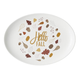 Hello Fall Foliage Serving Platter