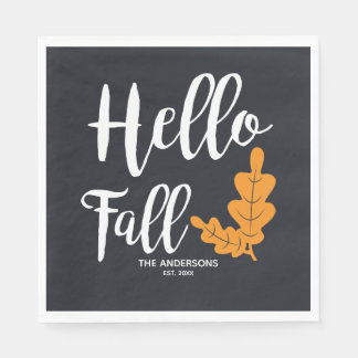 Hello Fall. Modern Thanksgiving. Paper Napkin