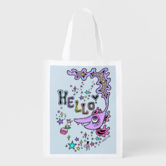 Hello Fish☆ (one side) Reusable Grocery Bag