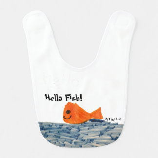 Hello Fish! Playful design on baby bib