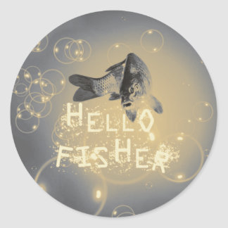 Hello fisher classic round sticker