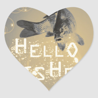 Hello fisher heart sticker