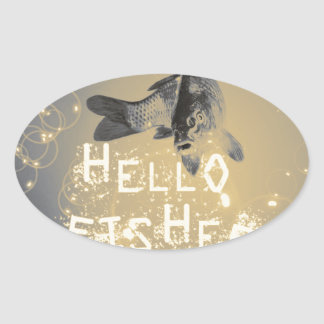 Hello fisher oval sticker