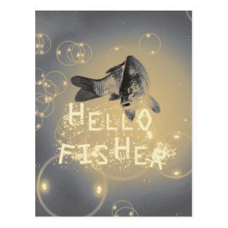 Hello fisher postcard