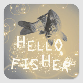 Hello fisher square sticker