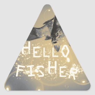 Hello fisher triangle sticker