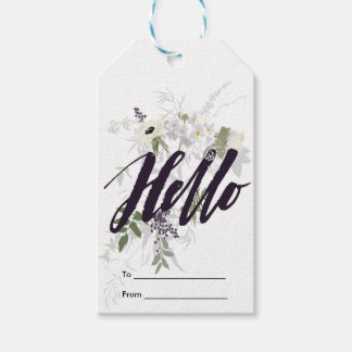 Hello Floral Watercolor Pack Of Gift Tags