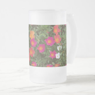 Hello Flowers Frosted Glass Beer Mug