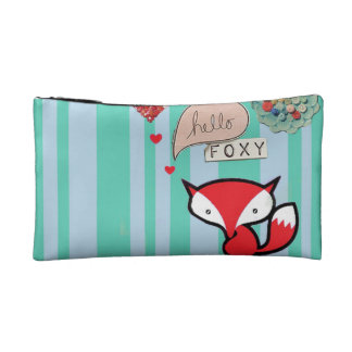 Hello Foxy Cute Fox with Buttons in Turquoise Cosmetic Bag