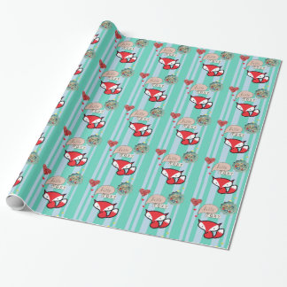 Hello Foxy Cute Fox with Vintage Buttons in Blue Wrapping Paper