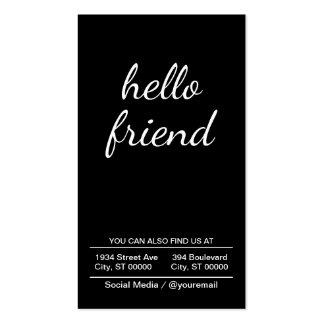 hello friend (black) business card