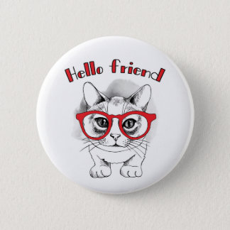 Hello Friend Cat with Glasses Button