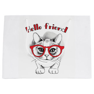 Hello Friend Cat with Glasses Gift Bag LARGE