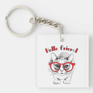 Hello Friend Cat with Glasses Key Chain