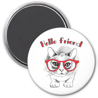 Hello Friend Cat with Glasses Magnet