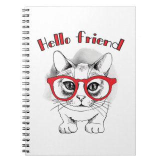 Hello Friend Cat with Glasses Notebook