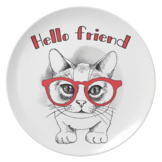 Hello Friend Cat with Glasses Plate