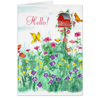 Hello Friend Red Birdhouse Butterfly Flower Card