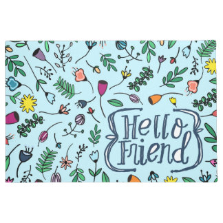 Hello Friend Typography | sweet Floral Pattern Doormat