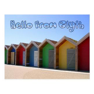 Hello from Blyth Northumberland beach huts Postcard