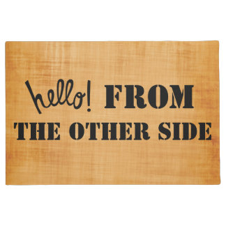 Hello from the other side funny brown print doormat