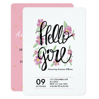 Hello girl cute floral typography baby shower card