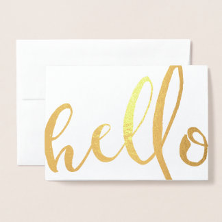 Hello Gold Foil Script Foil Card