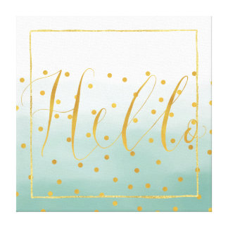Hello Gold Mint Confetti Ombre Canvas Print