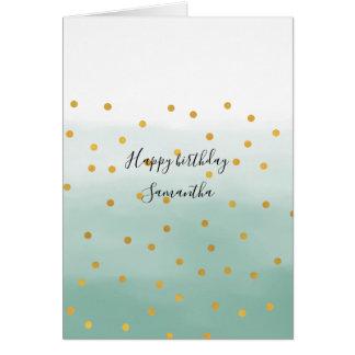 Hello Gold Mint Confetti Ombre Card
