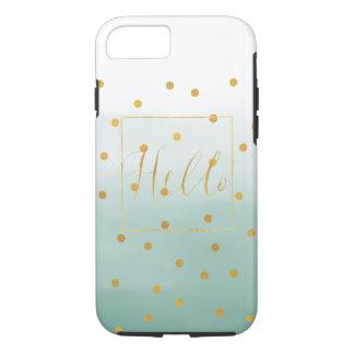 Hello Gold Mint Confetti Ombre iPhone 8/7 Case