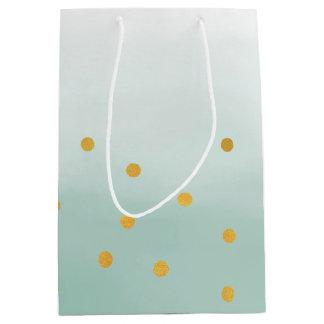 Hello Gold Mint Confetti Ombre Medium Gift Bag