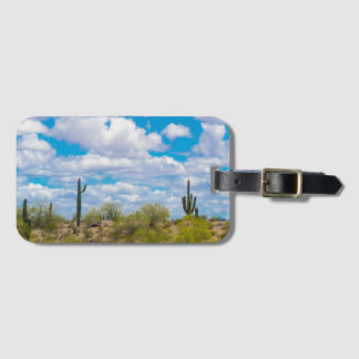 Hello Goodbye Saguaro Cactus Desert Clouds Bag Tag
