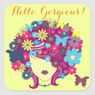 Hello, Gorgeous! Beautiful Flower Lady Square Sticker