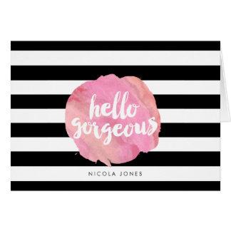 Hello Gorgeous Black Stripe & Pink Watercolor Card