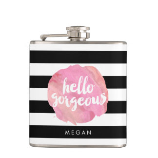 Hello Gorgeous Black Stripe & Pink Watercolor Hip Flask