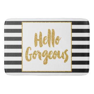 Hello Gorgeous Black & White Gold Glitter Stripes Bath Mat