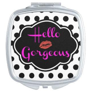 Hello Gorgeous Black White Polka Dot Pink Compact Vanity Mirror