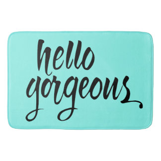 Bath Mats - 'Hello Gorgeous' Brush Lettering Bath Mat : Unique