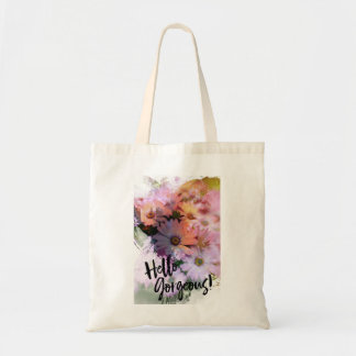 Hello Gorgeous Colorful Daisy Painting Tote Bag