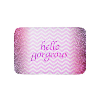 Hello Gorgeous Girly Pink Chevrons Glitter Look Bath Mat